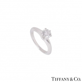 Tiffany & Co. Platinum Diamond Setting Ring 0.73ct F/VS2 XXX